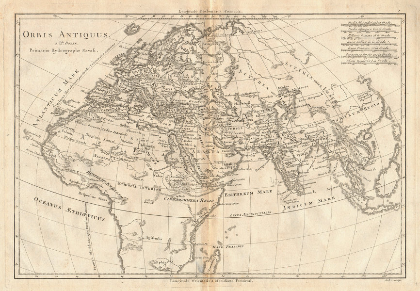 Orbis Antiquus. The Ancient World. Europe Africa Asia. BONNE 1787 old map