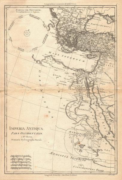 Imperia Antiqua pars Occidentalis. Empire of Alexander the Great. BONNE 1787 map