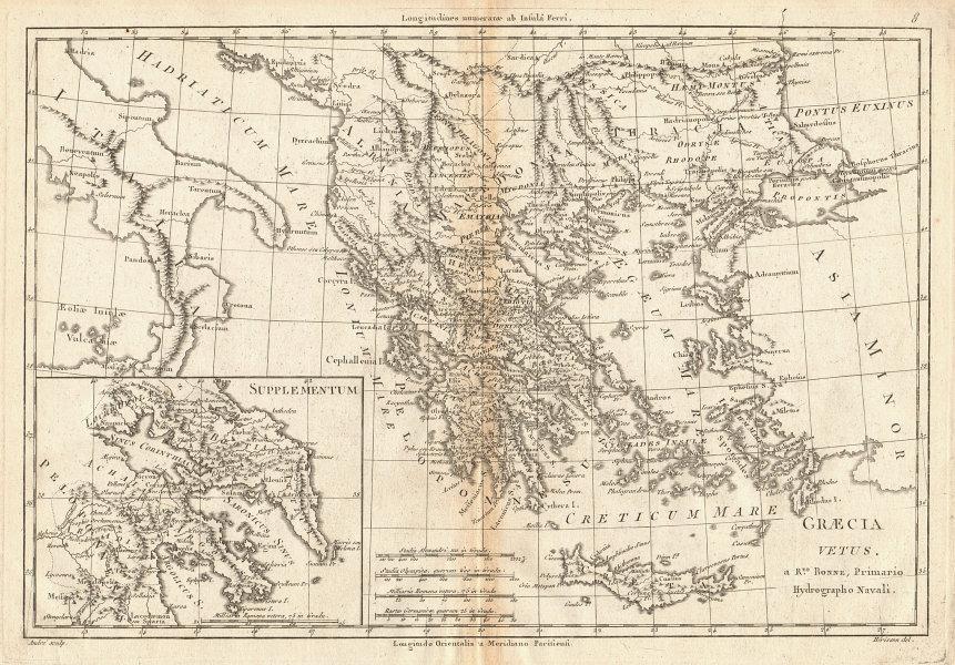Graecia Vetus. Ancient Greece. Aegean islands. BONNE 1787 old antique map