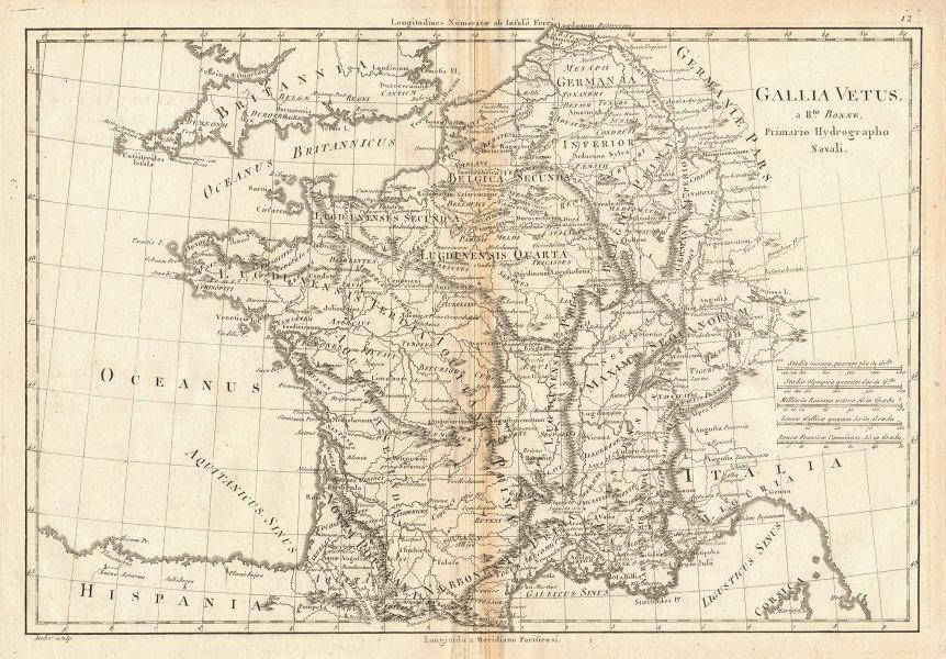 Gallia Vetus. Ancient Gaul. France Belgium Switzerland. BONNE 1787 old map
