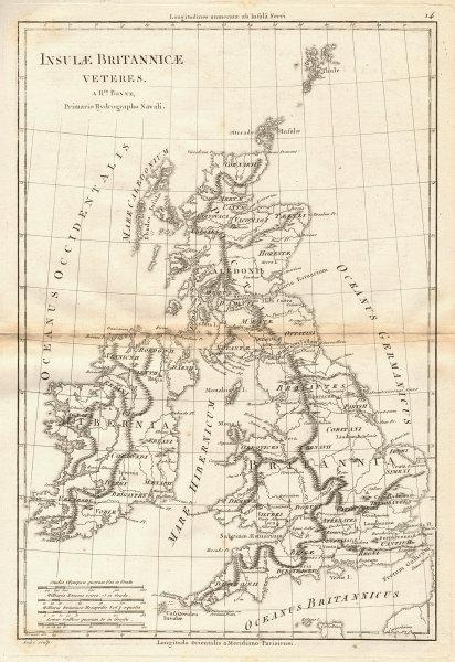 Insulae Britannicae Veteres. British Isles Ancient Roman Britain. BONNE 1787 map