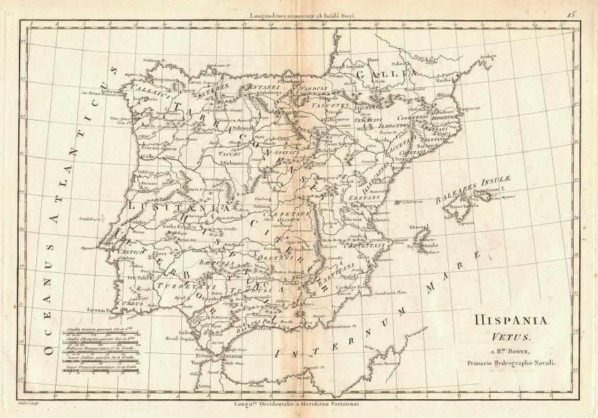 Hispania Vetus. Ancient Iberia. Lusitania. Spain & Portugal. BONNE 1787 map