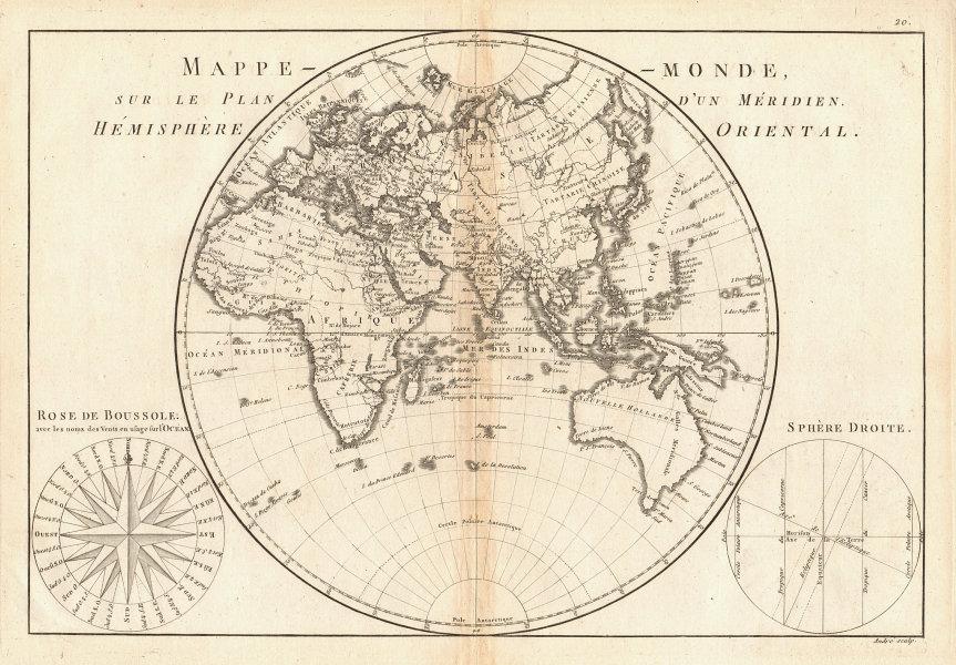 Mappe-monde sur le plan d'un Méridien, hemisphere Oriental. BONNE 1787 old