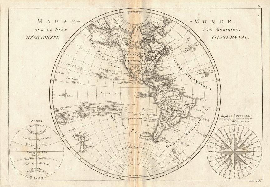 Mappe-monde sur le plan d'un Méridien, hemisphere Occidental. BONNE 1787