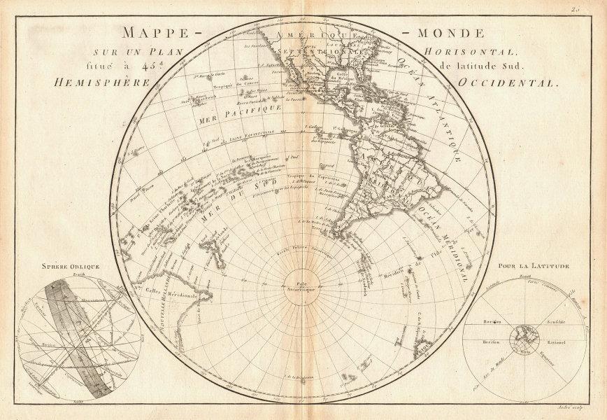 Mappe-monde sur un plan horisontal… à 45°S hemisphere Occidental. BONNE 1787