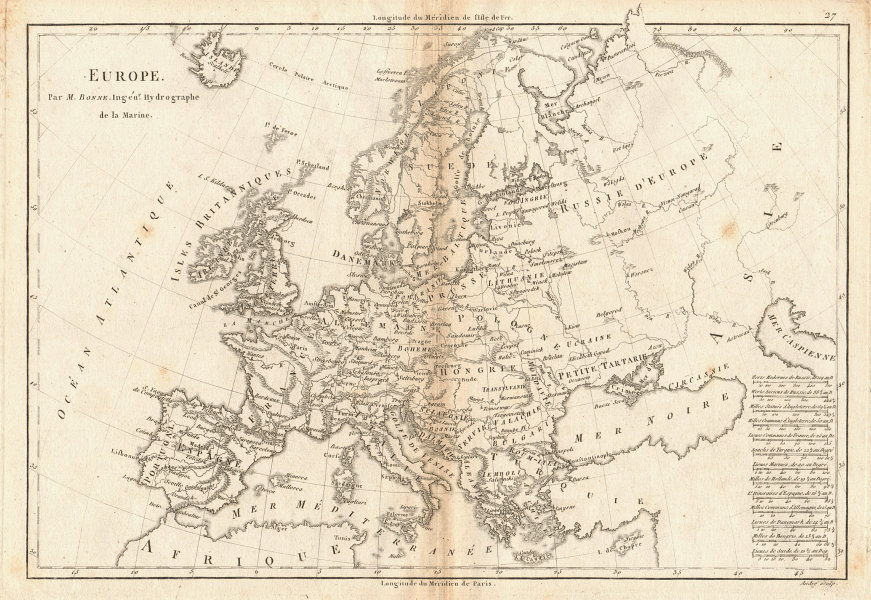 Antique map of Europe by BONNE 1787 old vintage plan chart