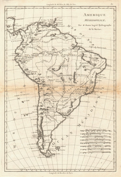 Amerique Meridionale. Antique map of South America. BONNE 1787 old