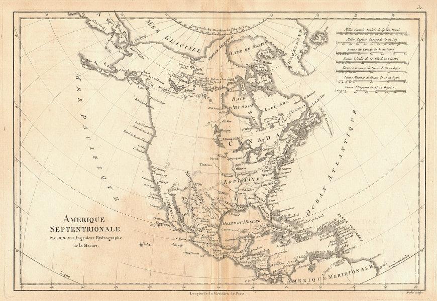 Amerique Septentrionale. Antique map of North America. BONNE 1787 old