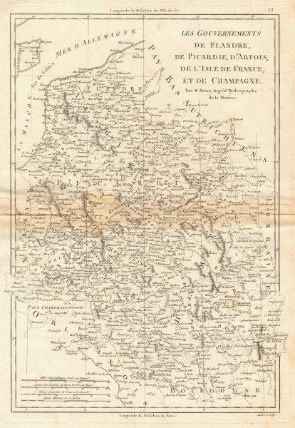 Flandre, Picardie, Artois, Isle de France & Champagne. NE France. BONNE 1787 map