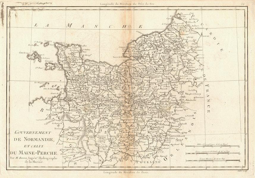 Gouvernement de Normandie et du Maine-Perche. Normandy. BONNE 1787 old map
