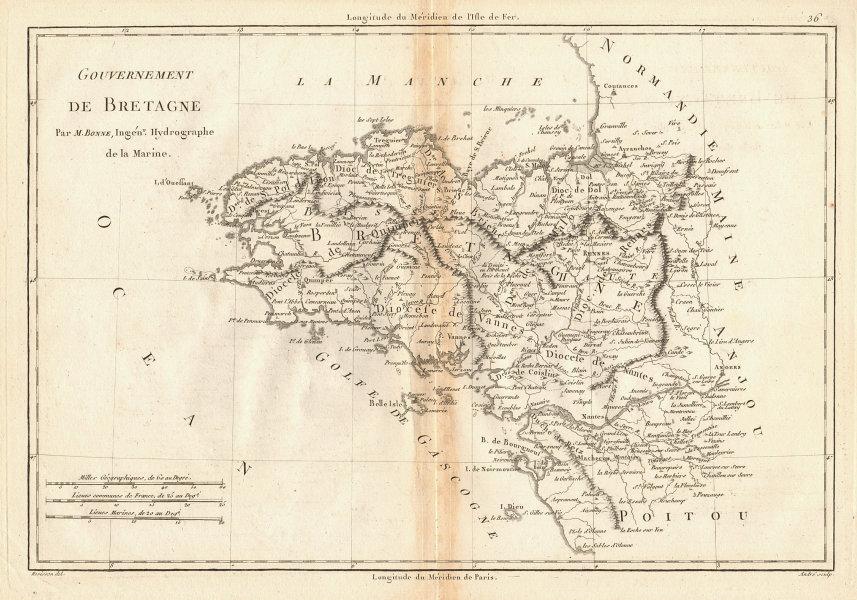 Gouvernement de Bretagne. The Province of Brittany. France. BONNE 1787 old map