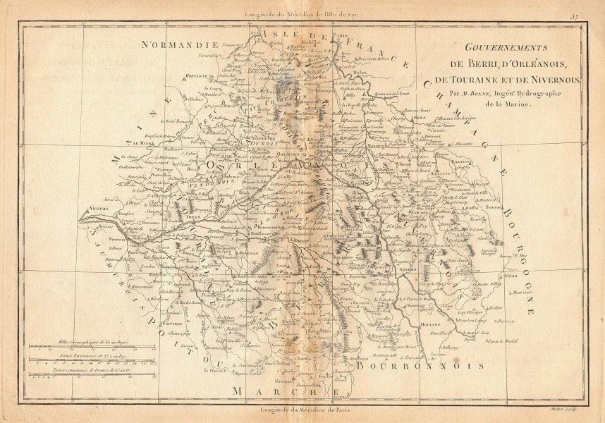 Gouvernements de Berri, d'Orléanois, de Touraine et de Nivernois. BONNE 1787 map