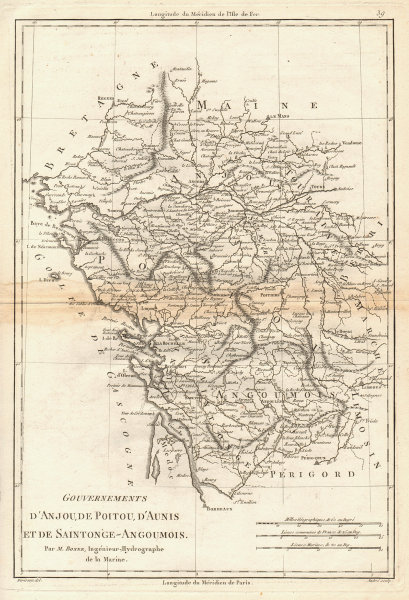 Gouvernements d'Anjou, de Poitou, d'Aunis & Saintonge-Angoumois. BONNE 1787 map