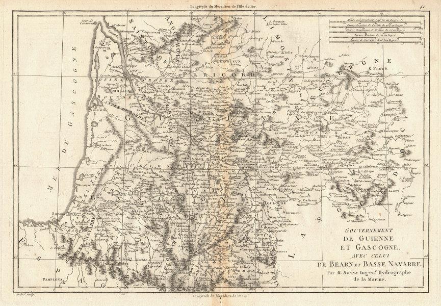 Guienne et Gascogne avec… Béarn et Basse Navarre. SW France. BONNE 1787 map
