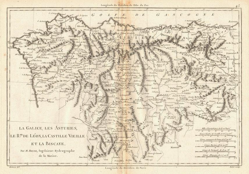 Galice, Asturies, Léon, Castille vieille & Biscaye. NW Spain. BONNE 1787 map