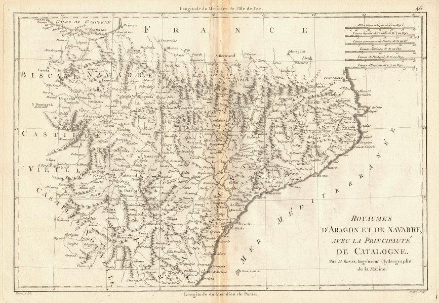 Royaumes d'Aragon et de Navarre avec… Catalogne. Catalonia Spain. BONNE 1787 map