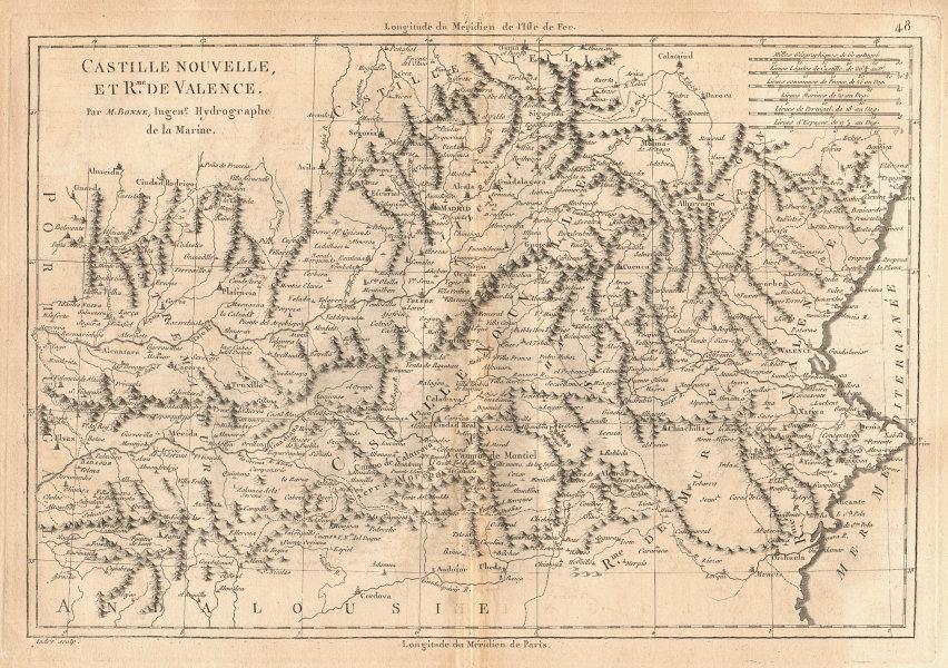 Castille Nouvelle et Royaume de Valence. New Castile. Valencia. BONNE 1787 map