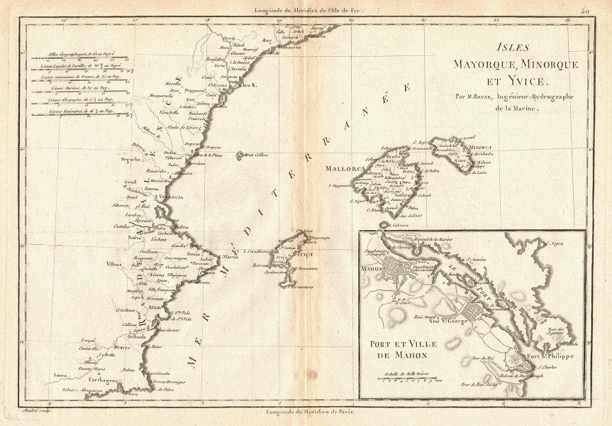 Iles Mayorque, Minorque et Yvice. Mahon. Majorca Menorca Ibiza. BONNE 1787 map