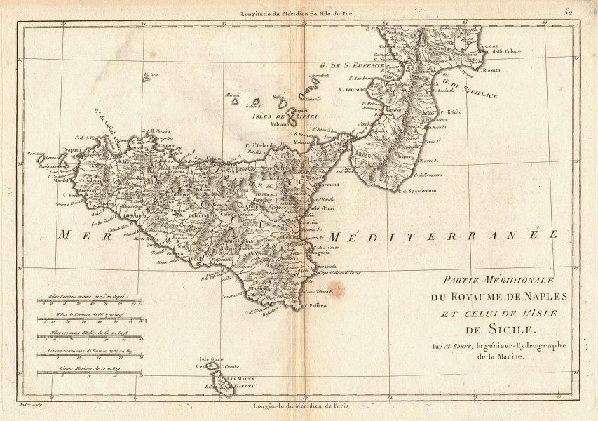Partie Méridionale du Royaume de Naples &… Sicile Calabria Sicily BONNE 1787 map