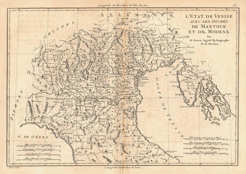 L'État de Venise, avec les Duchés de Mantoue et de Modene. Italy. BONNE 1787 map