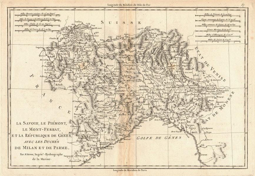 Savoie, Piémont, Montferrat, Genes, Milan & Parme. Genoa NW Italy BONNE 1787 map