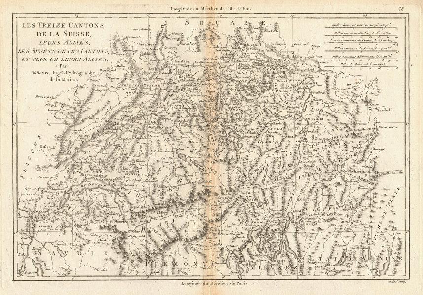 Les treize Cantons de la Suisse. Switzerland Suisse Schweiz. BONNE 1787 map