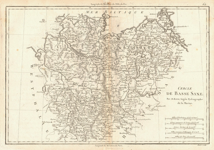 Cercle de Basse Saxe. Circle of Lower Saxony. North-East Germany. BONNE 1787 map