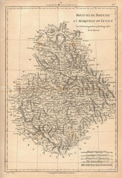 Royaume de Boheme & Marquisat de Lusace. Bohemia Lusatia Czechia. BONNE 1787 map