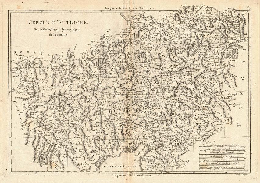 Cercle d'Autriche. Circle of Austria. BONNE 1787 old antique map plan chart