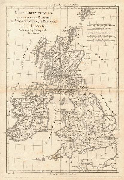 Isles Britanniques… Angleterre, Ecosse & Irlande. British Isles. BONNE 1787 map