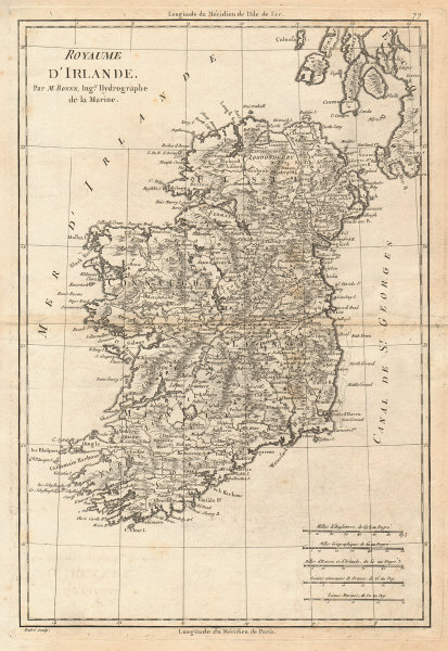 Royaume d'lrlande. Kingdom of Ireland. BONNE 1787 old antique map plan chart