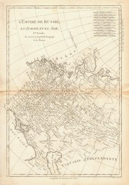 L'Empire de Russie en Europe et en Asie. 1st sheet. Russia West. BONNE 1788 map