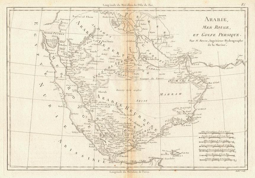 Arabie, Mer Rouge et Golfe Persique. Arabia Red Sea Persian Gulf. BONNE 1788 map