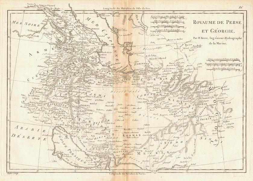 Royaume de Perse et de Géorgie. Kingdoms of Persia & Georgia. BONNE 1788 map