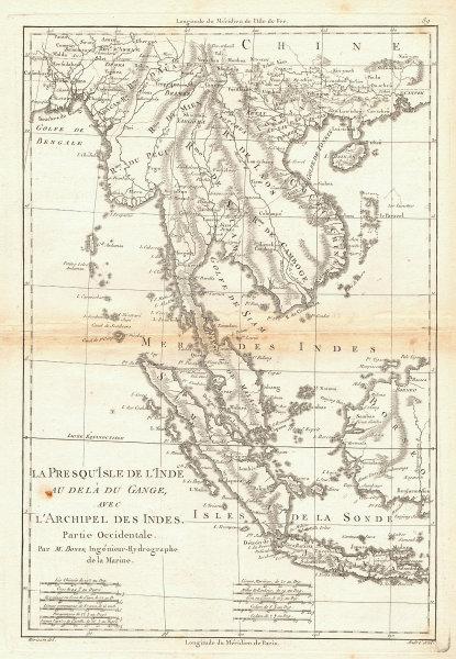 La Presqu'Isle de l'Inde. Indochina Sumatra Java Borneo. BONNE 1788 old map