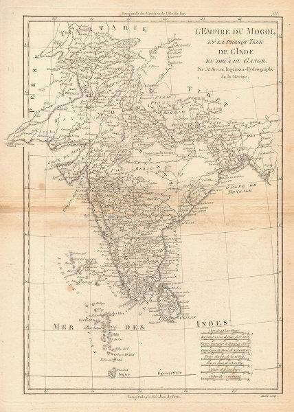 L'Empire du Mogol et la Presqu'Isle de l'lnde en decà du Gange. BONNE 1788 map