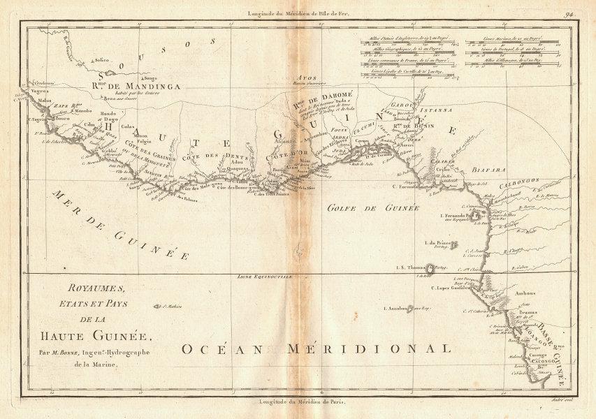 Royaumes, Etats et Pays de la Haute Guinée. Gulf of Guinea. BONNE 1788 old map
