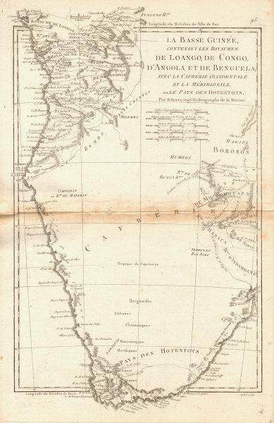 La Basse-Guinée… Loango, Congo, AngoIa & Benguela Southern Africa BONNE 1788 map