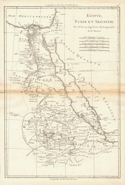 Egypte, Nubie et Abissinie. Egypt, Nubia & Abyssinia. Sudan. BONNE 1788 map