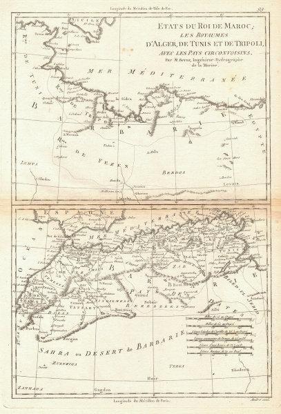 États du Roi de Maroc… d'Alger, Tunis & Tripoli. North Africa. BONNE 1788 map
