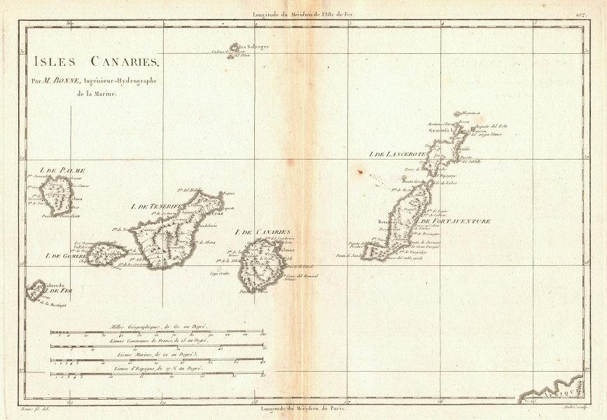 Isles Canaries. Canary Islands. Spain. Tenerife Lanzarote &c. BONNE 1788 map