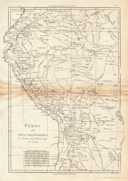 Perou et Pays circonvoisins. Peru, Ecuador, Bolivia & Amazonia. BONNE 1788 map