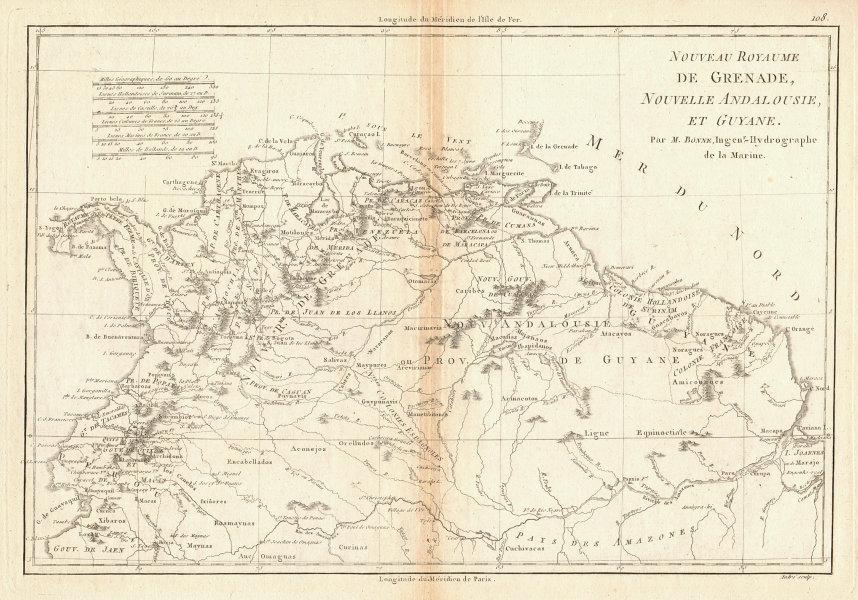 Nouveau Royaume de Grenade, Nouvelle Andalousie et Guyane. BONNE 1788 old map