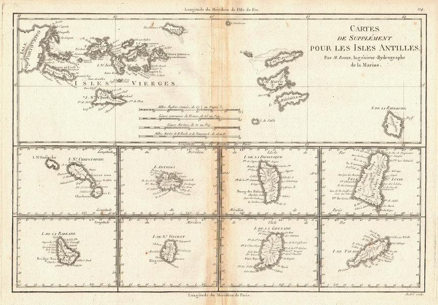 Cartes de supplément pour les Isles Antilles. West Indies Islands BONNE 1788 map