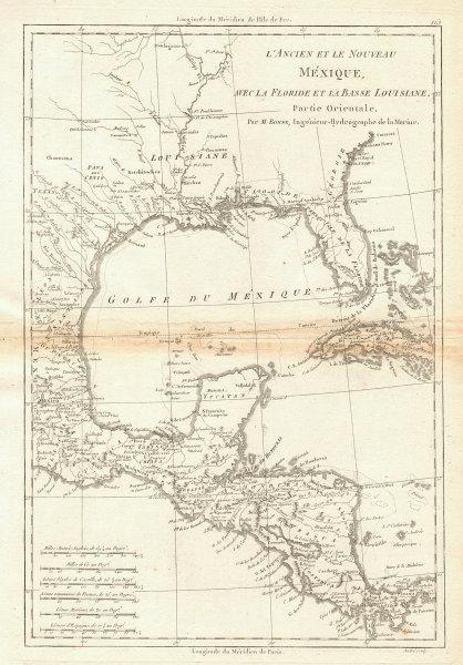 Mexique, avec la Floride et la Basse Louisiane, partie Orientale. BONNE 1788 map