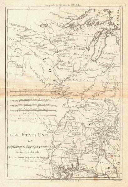 Les Etats Unis de I'Amérique Septentrionale, partie Occidentale. BONNE 1788 map