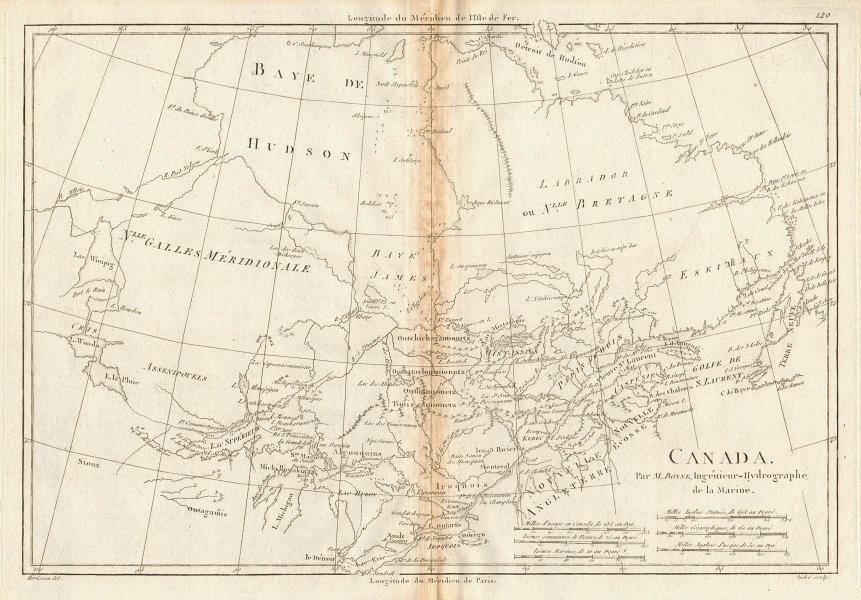 Canada. Great Lakes, Hudson Bay. Ontario & Quebec. BONNE 1788 old antique map
