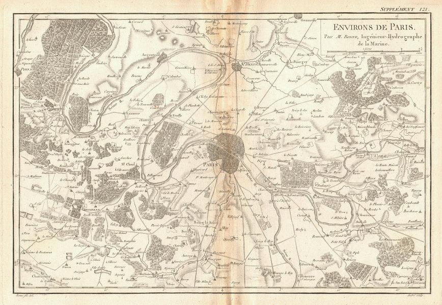 Environs de Paris. Paris and environs. BONNE 1788 old antique map plan chart