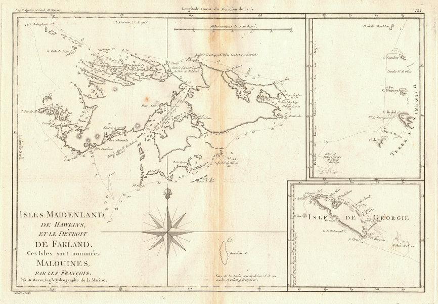 Isles Maidenland & Hawkins. Falkland Islands & South Georgia. BONNE 1788 map