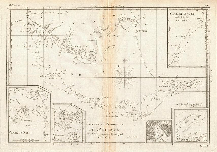 Extremité Meridionale de l'Amérique Tierra del Fuego Magellan Str BONNE 1788 map